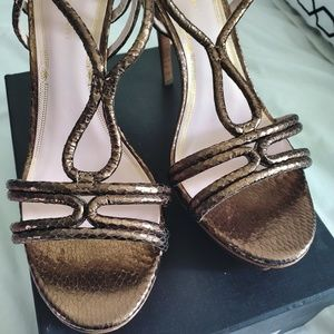 Elie Tahari Bronze Brown Leather and Wood Platform